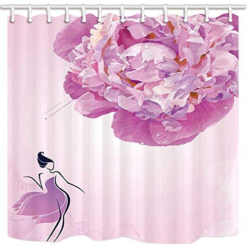 AdaCrazy Moderne Kunst Dekor Duschvorhang Romantik Teen Mädchen und Rosa Rose Inland oder Hotel Bad...