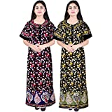 JWF Women's Cotton Nighty Gown, Sleepwear, Nightwear, Maxi (Multicolour, Free Size) - Combo of 2 Pieces