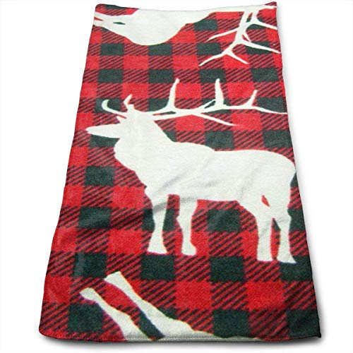 ERCGY Deer Red and Black Plaid Kitchen Towels - Dish Cloth - Machine Washable Cotton Kitchen Dishcloths,Dish Towel & Tea Towels for Drying,Cleaning,Cooking,Baking (12