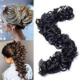 TESS Haarverlängerung Schwarz Ponytail Extension DIY Haargummi Haarteil Dutt Synthetik Haare für Haarknoten Zopf Pferdeschwanz Hair Extensions 32