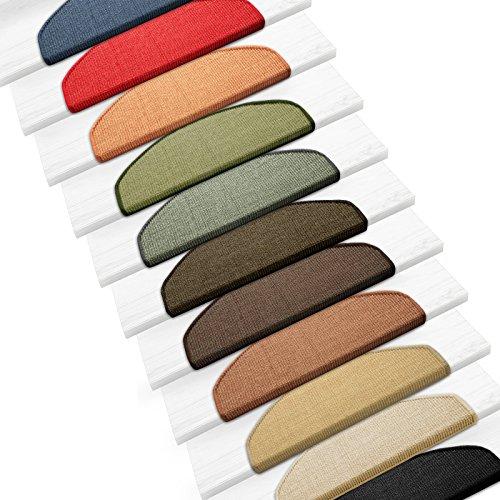 Sisal Stufenmatten im 15er Set | 100 % Naturfaser in 2 Größen | sicherer Halt auf Ihrer Treppe | halbrund 65x24 cm mit Lippe - schwarz