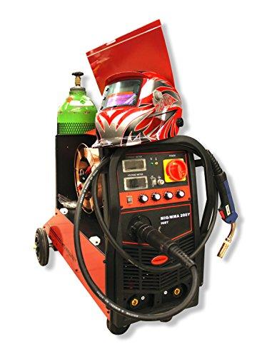 BULKSTON Digital 2-Funktions-Schweißanlage Multi MIG200Y MIG/MAG - ARC(MMA) - 230 V (Set Angebot) incl. Gasflasche,Schutzhelm,Schweißdraht