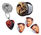 Elvis Presley Collection With 3 Double Sided Loose Guitar Médiators Picks and Collier in Tin