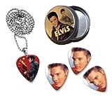 Elvis Presley Collection With 3 Double Sided Loose Gitarre Plektrum Plektron Picks & Kette in Tin