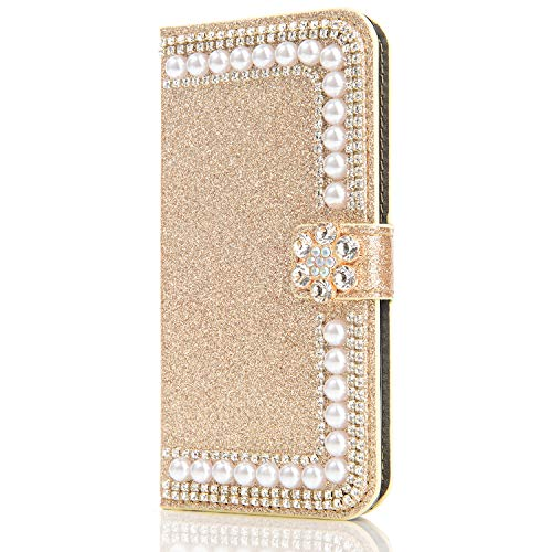 Bookstyle Sparkle Bling für Samsung S8 Plus,Glitter Glitzer Diamond Musterg Slim Retro Klassisch Modisch Ledertasche Stand Funktion Kartenfach Magnetverschluss Flip Wallet Schutzhülle