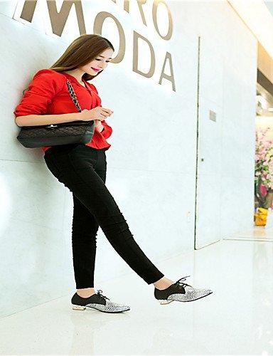 ZQ Scarpe Donna - Scarpe col tacco - Ufficio e lavoro / Formale / Casual - Tacchi / Decolleté - Quadrato - Sintetico - Nero / Dorato , 1in-1 3/4in-golden 1in-1 3/4in-black