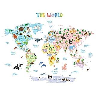 Decowall DLT-1615 Carte du monde Animaux Autocollants Muraux Mural Stickers Chambre Enfants Bébé Garderie Salon (Extra Grand) (Ver anglais)