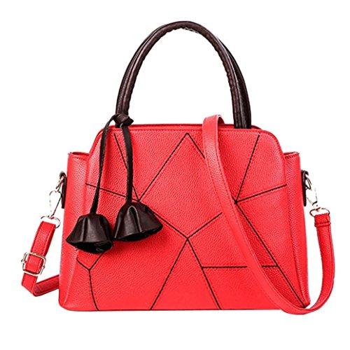 Longra Borsa a tracolla a tracolla con tracolla a tracolla a tracolla a tracolla in pelle moda casual moda donna Rosso