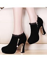KHSKX-Otoño Coreano Zapatos Femeninos Zapatos De Tacon Alto Grueso Impermeable Con Zapatos De Todo Partido Boca...