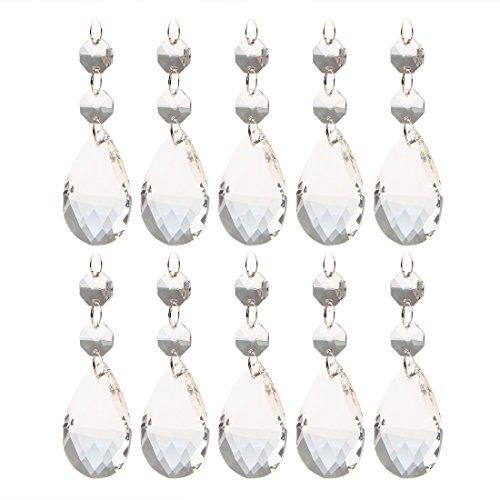 Ossigenatore Shop 10 pezzi, colore: trasparente cristallo a goccia con taglio a diamante, con doppio Octogon-Lampadario, prismi, parti Decorazione da appendere