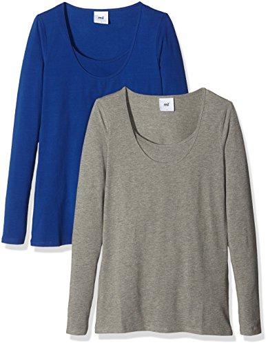 MAMALICIOUS Damen Langarmshirt 2er Pack Blau (Mazarine Blue)