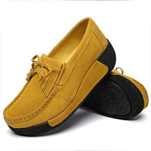 Eagsouni Femmes Baskets Compensé Mocassins Cuir Chaussures Bateau Loafers Plateforme Marche Fitness Chaussons Tennis Sport Sneakers Jaune