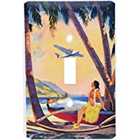 3dRose lsp_163611_1  Image of Hawaiian Airline with Hula Girl and Palms Single Toggle Switch