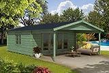 Alpholz Gartenhaus NILS-44 - Blockhaus mit 4-tlg. Falttür - Massivholz Gartenhütte mit Fenster & Isolierverglasung - Garten Blockhütte Salzgrün