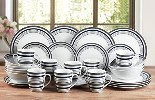 32 Piece Brompton Stripe Porcelain Dinner Set