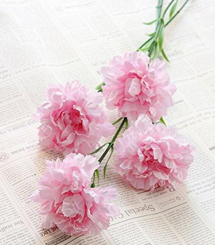 2-pcs-artificial-carnations-silk-flowers-bush-wedding-grave-vaselight-pink
