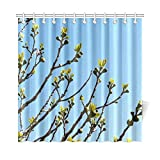 HOJJP Bath Curtain Figs Fig Tree Fruits Real Coward Fig Leaves Tree Polyester Fabric Waterproof Shower Curtain for Bathroom, 60W X 72L Inches Shower Curtains Hooks Included