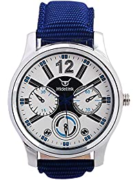 Hidelink White Dial Silver Case With Blue Strap Analog Smart Wrist Watch For Men(WS1007)