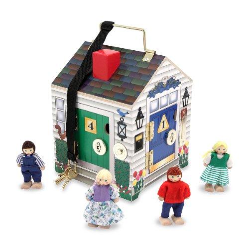 melissa-doug-take-along-wooden-doorbell-dollhouse-doorbell-sounds-keys-4-poseable-wooden-dolls