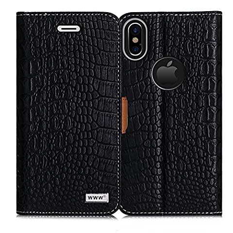 iPhone X Case, iPhone X Cover, WWW [Crocodile Pattern] Premium PU Leather Wallet Case Flip Phone Case Cover with Card Slots for Apple iPhone X Edition (2017)