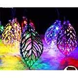 Golden Leaf Diwali Christmas Decorations Lights - 17 LED String Decorative Lights (Multi Color)