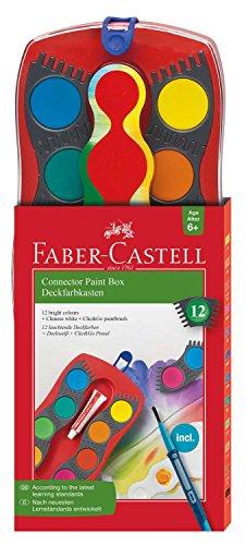 Faber-Castell 125023 – Estuche de 12 acuarelas Connector, pincel, multicolor