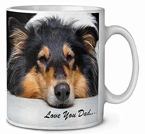 Border Collie Dog 'Love You Dad' Tasse de café anniversaire cadeau de Noël