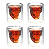 #10: House of Quirk Skull Shot Glasses - Set of 4 Crystal 3D 2.5 Ounce Fun Pirate Head Shotglass