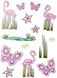 Unbekannt 14 TLG. Set: Fensterbilder / Sticker -  Schmetterlinge & Flamingo  - Fensterbild Aufkleber für Kinderzimmer - Kinder - Wandtattoo Wandsticker Fensterfolie -..
