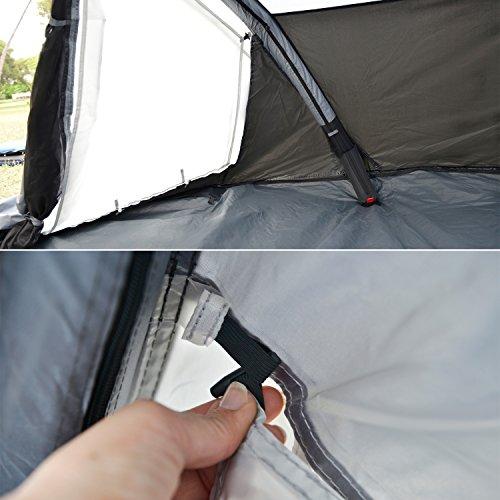 skandika Easy Air 3 XL | Aufblasbares Zelt mit Air Tubes | 3 Personen | Moskitonetze an Schlafkabine und Lüftung | Aufrollbare Dachabdeckung | 3.000mm Wassersäule | Eingenähter Zeltboden - 7
