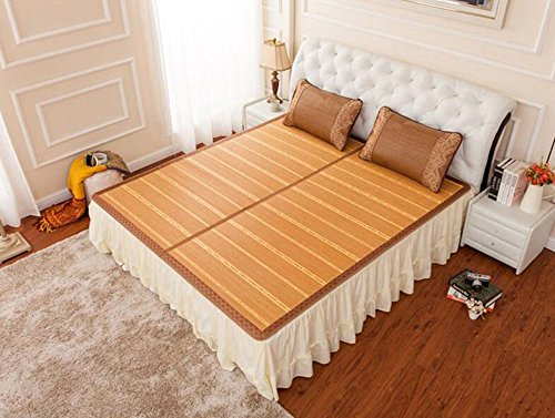 Coole Matratze Bambusmatten Matten gefaltete doppelseitige Matten doppelte Bambusmatten dreiteilig mit Kopfstütze 1,8 * 2,2m Bett Coole Bambusmatte (größe : 1.35m Bed)