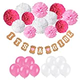 Recosis It's A Girl Papier Girlande Banner Dekoration mit 12pcs Seidenpapier Pom Poms und 20pcs Luftballons für Baby Shower Baby Dusche Girlande Dekoration, Party Foto Requisiten und Baby Deko