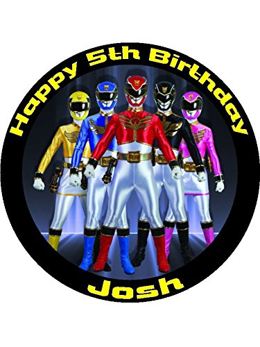 Image of Power rangers 7.5inch Round personalised birthday cake topper printed on Wafer Paper