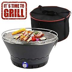 Idea Regalo - BAKAJI Barbecue Senza Fumo da Tavolo o da Terra Griglia in Acciaio Inossidabile BBQ Grill Grigliate Campeggio e all'aperto (Carbonella (Senza Fumo), Tondo)