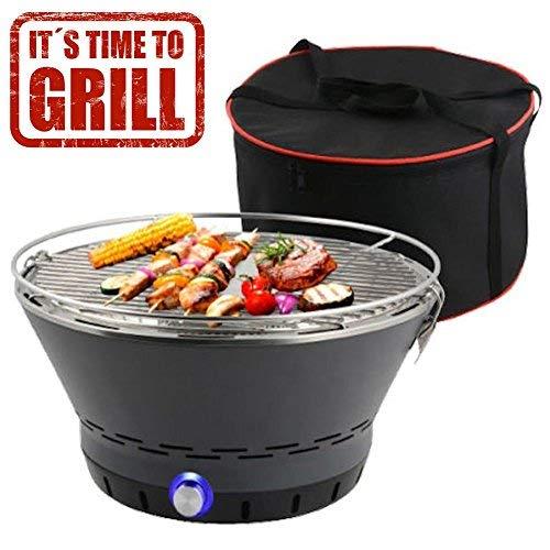 BAKAJI Barbecue Senza Fumo da Tavolo o da Terra Griglia in Acciaio Inossidabile BBQ Grill Grigliate Campeggio e all'aperto (Carbonella (Senza Fumo), Tondo)