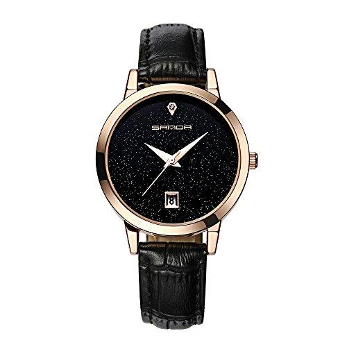 Luxus Mode Leder Band Analoge Quarz Runde Armbanduhr Uhren (Schwarz)