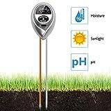 VDROL Boden-pH-Messgerät, 3-in-1, Bodentester, Feuchtigkeitsmesser, Licht- und pH-Säure-Tester, Pflanzenboden-Tester, Set für Garten, Bauernhof, Rasen, Indoor & Outdoor (Keine Batterie erforderlich)