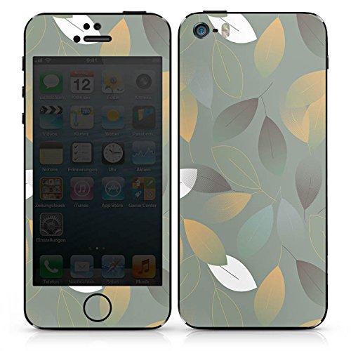 Apple iPhone SE Case Skin Sticker aus Vinyl-Folie Aufkleber Herbst Blätter Grün DesignSkins® glänzend