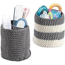 mDesign set portaoggetti neonato (piccolo) - porta oggetti neonato grigio e avorio - cestino lavorato a maglia - ideale per bagnetto neonato e cameretta - adatto al lavaggio in lavatrice