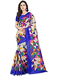 VARAYU Women's Beige,Multi Cotton Silk Bandhani Printed Saree With Unstitched Blouse(263SJ7,Beige,Multi)