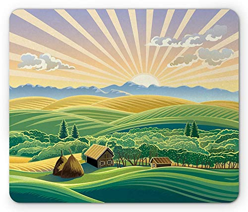VAICR Mauspad Country Mouse Pad,Sunny Weather on The Mountain with Green Grass Trees Pine Meadow Wooden Home Theme,Non-Slip Rubber Base,Laser Optical Mouse Compatible -