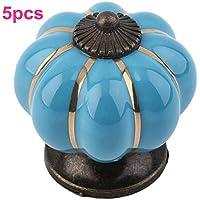 OFT 5pcs Lovely in ceramica a forma di zucca vintage Cabinet Door cassetto manopola maniglia per porta Pull nero blu - Maniglia Blue Door