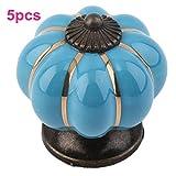 OFT 5pcs. Kürbis Griff knopf Schrank Möbelgriff Möbelknöpfe Tür Keramik Porzellan Blume Möbelknauf (blau)