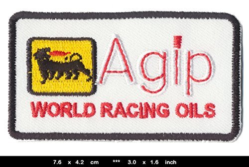 agip-iron-sew-on-cotton-patches-motor-oil-racing-sport-nascar-formula-1-f1-by-rsps-embroidery-n-deca