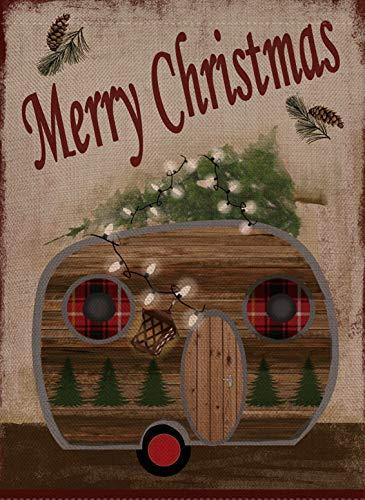 Selmad Dekorative Weihnachts-Flagge für den Garten, doppelseitig, Camper mit rustikalem Zitat, Haus-Hof-Flagge, Weihnachts-Dekoration, lustige Primitive Anhänger, saisonale Outdoor-Flagge, 12 x 18 cm