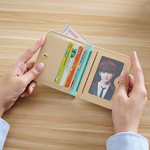 La signora breve due volte portafoglio pack card Piccolo fresco Modelli Femminili morbida Wallet Mianbao Student ( colore : Nero ) Nero