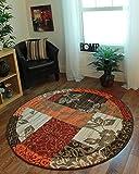 The Rug House Milan Traditioneller Rund Kreis Teppich mit Patchwork-Muster für das Wohnzimmer in Braun, Rot, Orange, Beigen & Crème 120cm Durchmesser
