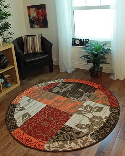 The Rug House Milan Traditioneller Rund Kreis Teppich mit Patchwork-Muster für das Wohnzimmer in Braun, Rot, Orange, Beigen & Crème 160cm Durchmesser (Runde-teppich Orange)