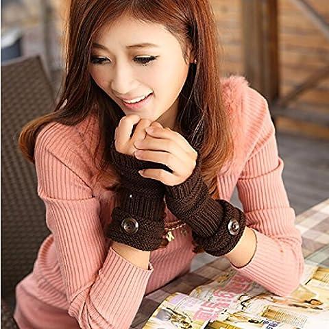 ZHGI La versión coreana del otoño/invierno niñas agradablemente cálida lana guantes sin dedos grandes alrededor zip wallet invierno escrito estudiantes tejer la mitad