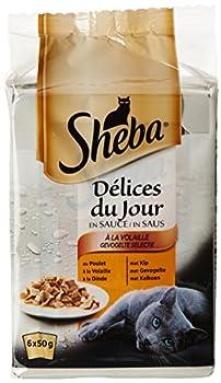 Sheba Délices du Jour - Nourriture Humide pour Chat Adulte - Sélection à la volaille en Sauce - Sachets Fraîcheur 72 x 50g
